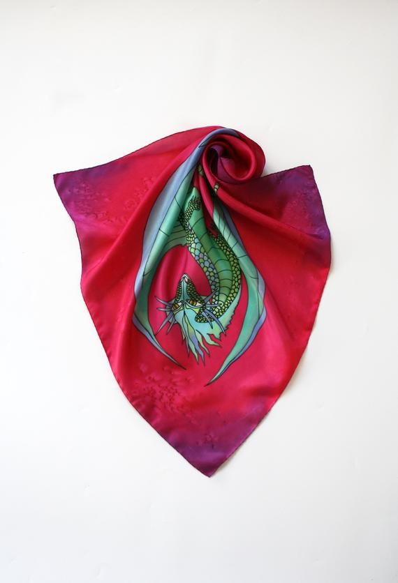 bc513235f262 Hand painted neck scarf with cute dragon Red silk shawl by Svetlana  Yakovleva