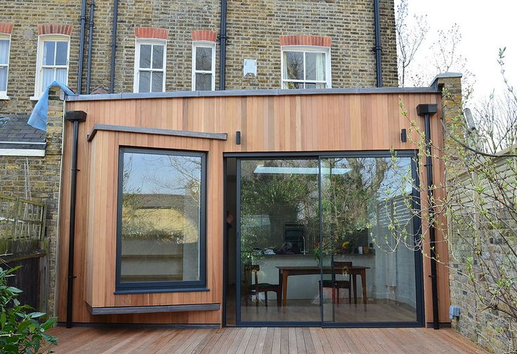 Single story extension. Timber cladding. Modern take on a box window. www.methodstudio.london