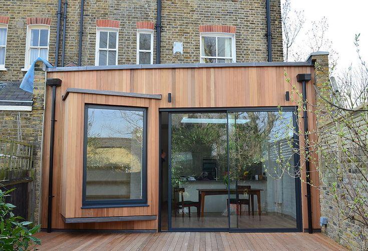 Single story extension. Timber cladding. Modern take on a box window. www.methodstudio.london
