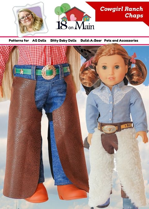 """cowgirl chaps PDF Pattern for 18"""" dolls by 18onMain.  Cowgirl UP!!"""