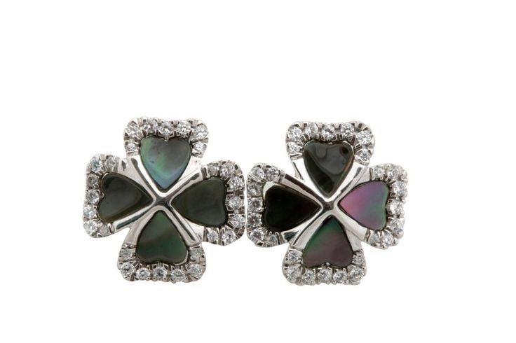 Natural Black Shell Stud Earrings with 0.42 Ct White Diamond, Sterling Silver #FacetsJewels #NaturalBlackSeaShellEarrings