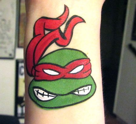 Ninja Turtle Raphael  face painting, superhero, face painting ideas, boy designs, by Glitter Goose