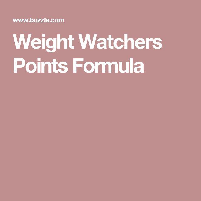 Weight Watchers Points Formula