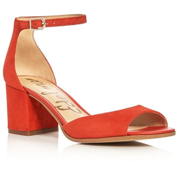Sam Edelman Susie Ankle Strap Block Heel Sandals ($120) ❤ liked on Polyvore featuring shoes, sandals, blood orange, ankle strap heel sandals, heeled sandals, color block shoes, ankle strap sandals and orange heeled sandals