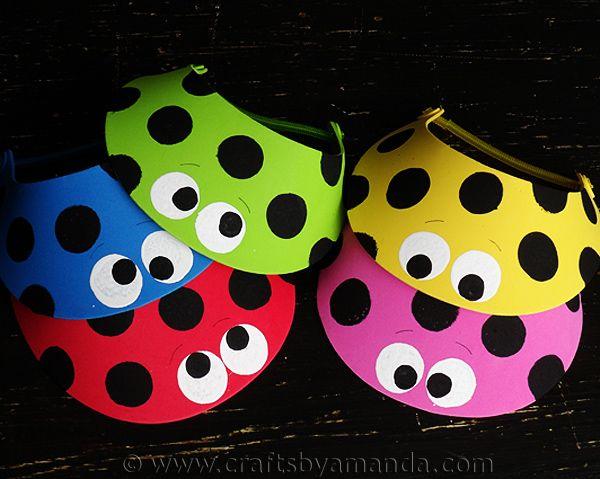 Ladybug Sun Visors by CraftsbyAmanda.com @amandaformaro