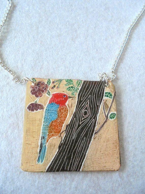 Painting necklace Bird handmade necklace by PuepueGuzaque on Etsy