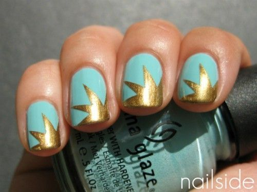 Turquoise and gold, always a good combination in my book: Nails Nails, Colors Combos, Nails Art, Gold Nails, Nailart, China Glaze, Gold Stars, Stars Nails, Blue Nails