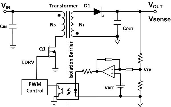 Regulated flyback converter using an optocoupler