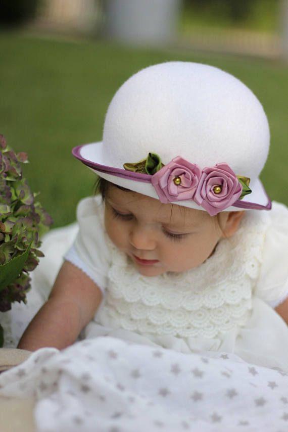 baby girl baby white bonnet hat baby mauve satin flower mauve  satin bow Caps & Hats