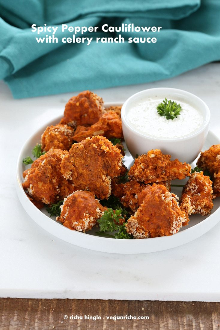 Spicy Baked Cauliflower Bites with Celery Ranch. Vegan Recipe