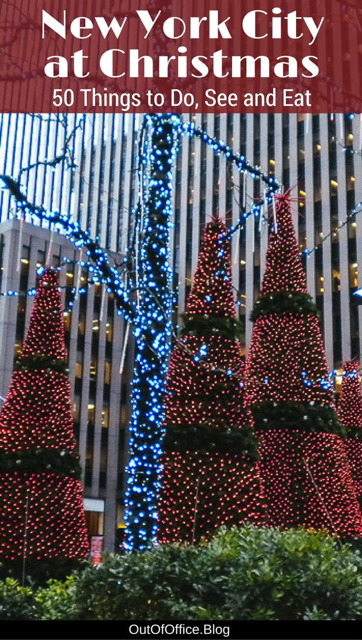 New York City is magical at Christmas! Don't miss these Christmas markets, shows, pop up bars, ice skating rinks, enormous Christmas Trees and decorations.