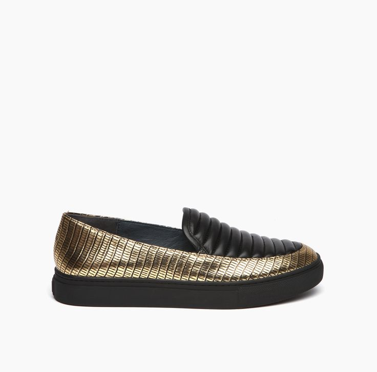 Loafer Slip On Black & Gold  Lizard Leather