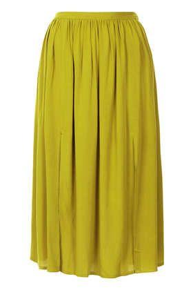 Olive Double Split Midi Skirt - Dark Craft  - Clothing