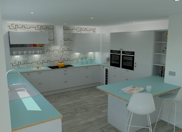 Saffron Interiors - Fusion Kitchen with Perfect Matt White doors and birch-ply faced laminate worktops in Fjord Blue. #kitchen #white #blue #green #geometric #tiles #wood #birch #ply #retro #modern #neff #elica