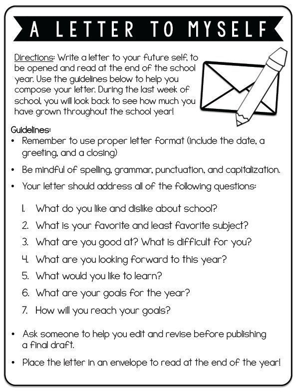 Twist this and have your teachers write this for themselves. Edit the questions to reflect your goals for your school year! Fun first day activity: Have kids write a letter to themselves at the end of the year.
