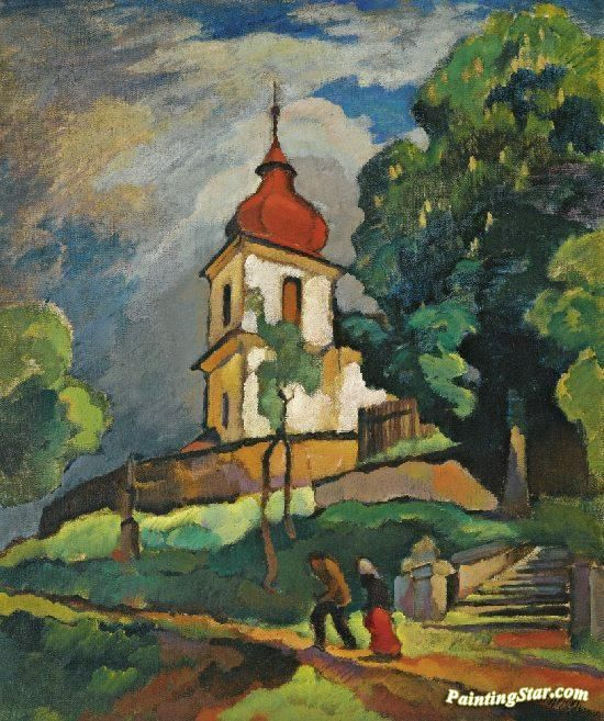 A Church In The Countryside Artwork by Otakar Nejedlý Hand-painted and Art Prints on canvas for sale,you can custom the size and frame
