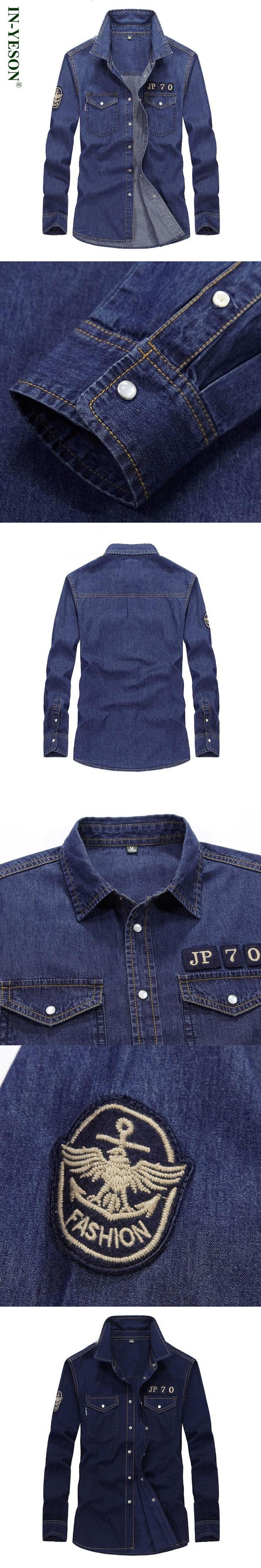 IN-YESON long sleeve shirt men brand denim shirt men European & American style mens jeans shirt casual dress shirt camisas