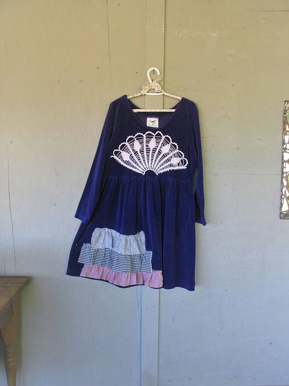Upcycled Tunic Dress Lagenlook Wearable Art Clothing X L 1 X