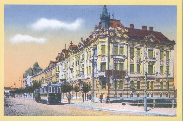 """Timisoara - 1915 - Tramvaiul electric in fata fostului cinematograf """"Apollo"""" din Parcul Poporului aflat pe Bulevardul 3 August 1919, numit in trecut Liget U"""