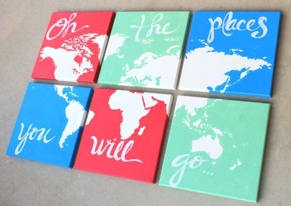world map canvas . oh the places you will go . 6  by sincerelyYOU, $108.00