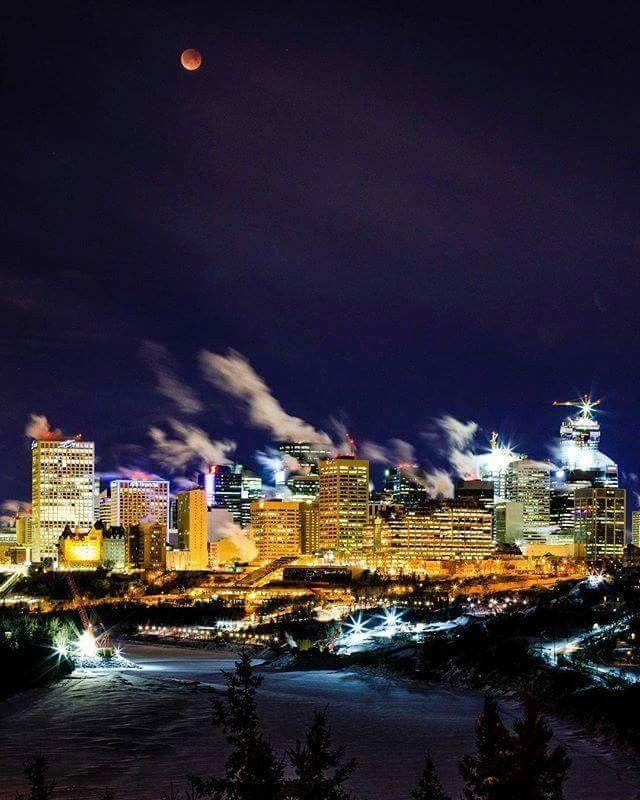 The blood moon over Edmonton!!!