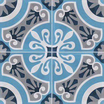 Lot de 4 carreaux de ciment Cercle bleu, l.40 x L.40 cm | Leroy Merlin