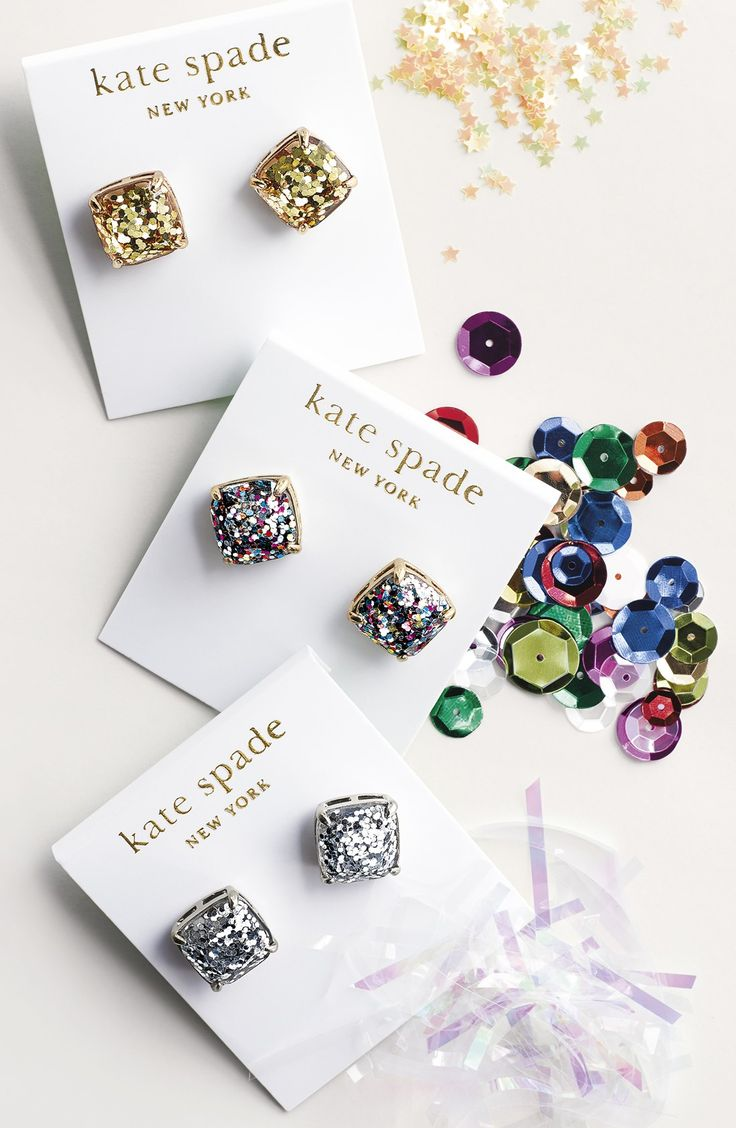 So obsessed with these fun Kate Spade glitter stud earrings!