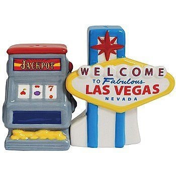 Vegas Sign and Slot Machine Magnetized Ceramic Salt and Pepper Shaker Set