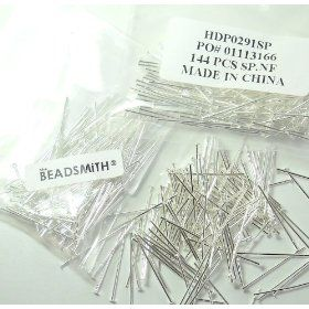 400 Head Pins .029dia X 1 Inch Silver Plating Over Brass Standard 21 Gauge Wire Beadsmith Headpins