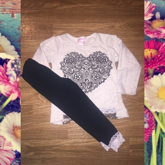 Little girls 2 piece outfit Toddler size 4. Little girls shirt & leggings set. Has some wear but is still super cute!! Comes from a smoke free & pet free home. Sugah & Honey Matching Sets