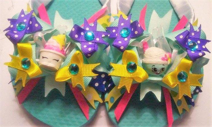 Shopkins flip flops, Decorated Flip Flops, Girls flip flops, girls accessories, Scoopy Two, Scoopy one by REbowsbarrettesnmore on Etsy https://www.etsy.com/listing/274945018/shopkins-flip-flops-decorated-flip-flops