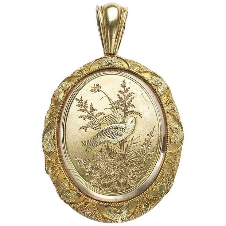 Victorian Gold Locket with Bird and Plants | 1stdibs.com