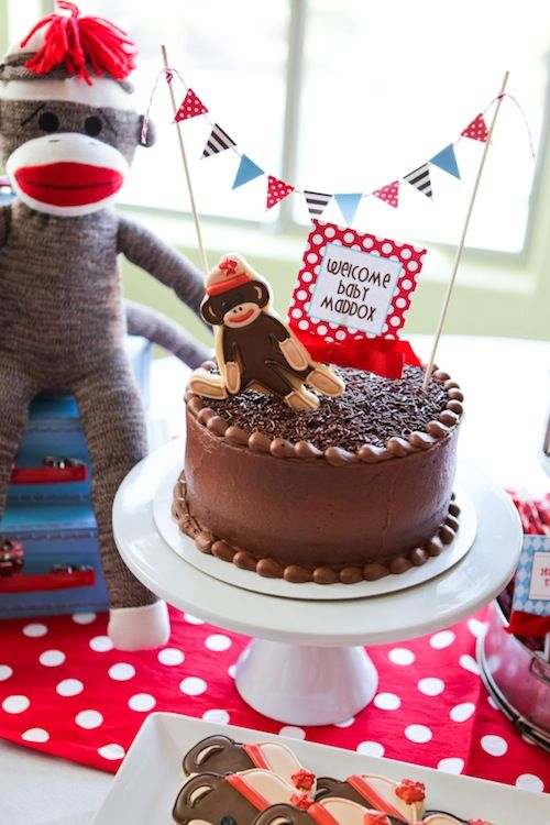 A fun take on the circus theme - sock monkey baby shower! #socialcircus: Diy Cake, Birthday, Sock Monkeys, Monkey Baby Showers, Sock Monkey Cakes, Sockmonkey, Party Ideas, Sock Monkey Baby
