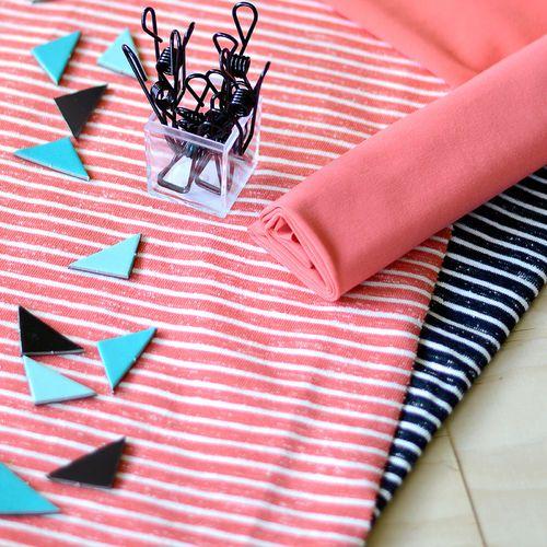 Loopback Sweatshirting, Coral - Vanilla | NOSH Autumn & Winter 2016 Fabric Collection is now available at en.nosh.fi | NOSH syksyn 2016 uutuuskankaat saatavilla verkosta nosh.fi