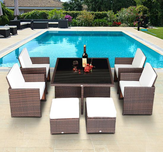 new 9pc outdoor rattan wicker cube nesting dining table sectional furniture set