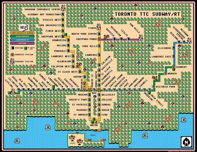 Super Mario Toronto subway map by Dave Delisle