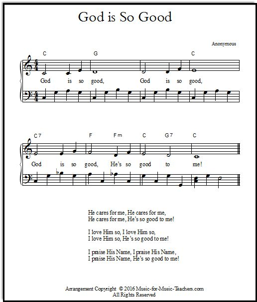 Piano arrangement and gospel hymn's lyrics for God is So Good, FREE! Keys of C & D