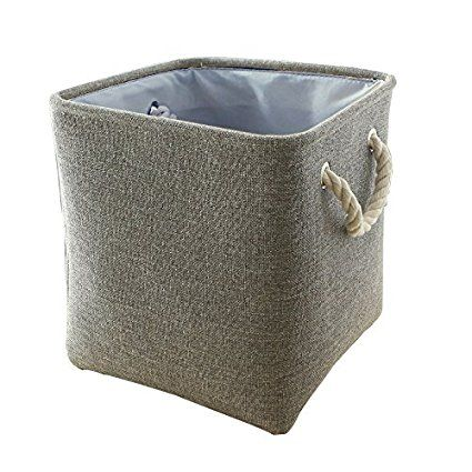 TheWarmHome Square Fabric Laundry Basket for Toy Storage Organizer,Shelves,Playroom Storage,Clothes Basket Container,Grey,11×11×11inch