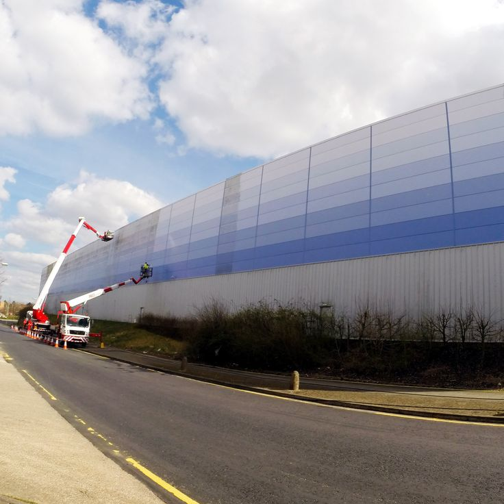 Cladding cleaning in progress.