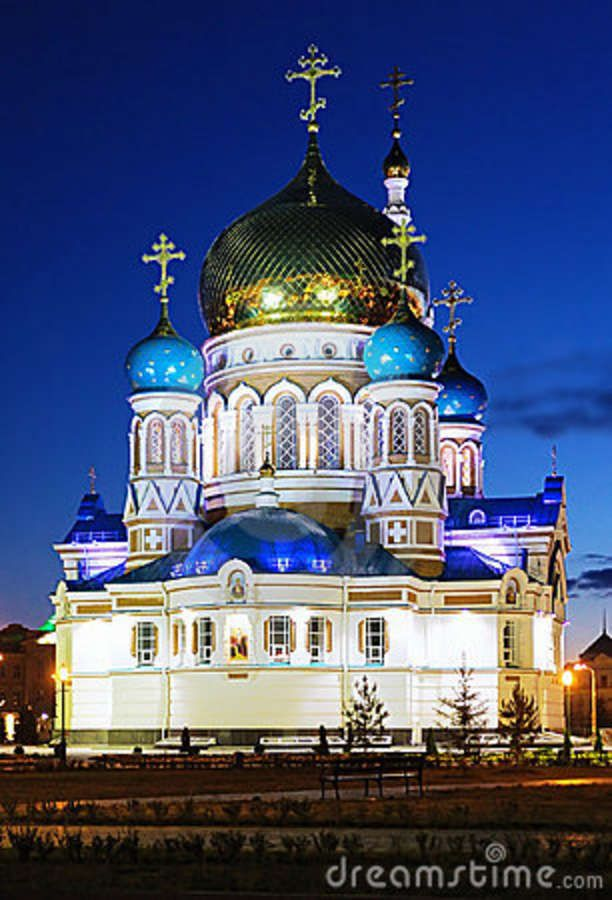 Russia Landmarks | Uspensky Cathedral In Omsk At The Evening, Russia