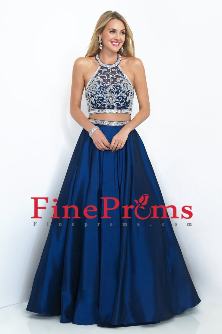 2016 Dark Royal Blue Halter Two-Piece Prom Dresses Beaded Bodice A Line Satin