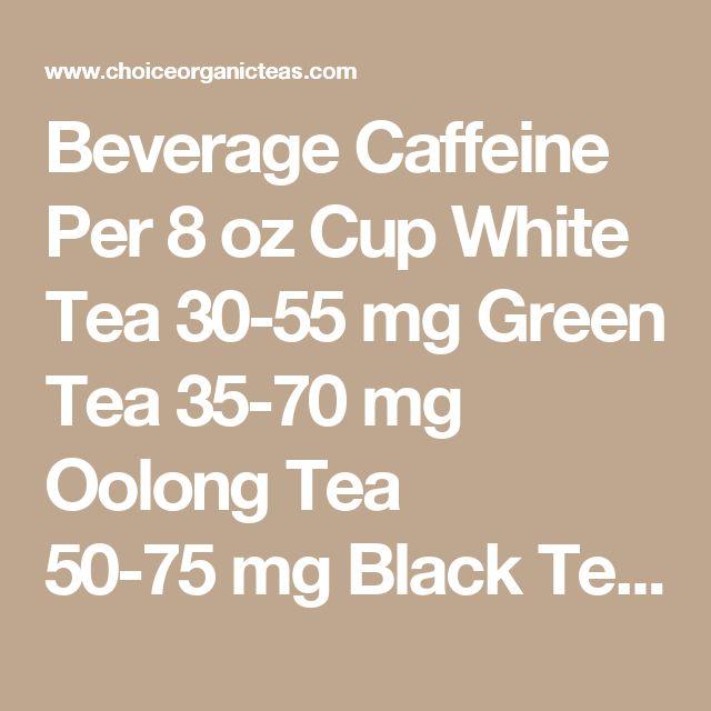 Beverage Caffeine Per 8 oz Cup White Tea 30-55 mg Green Tea 35-70 mg Oolong Tea 50-75 mg Black Tea 60-90 mg Coffee 150-200 mg