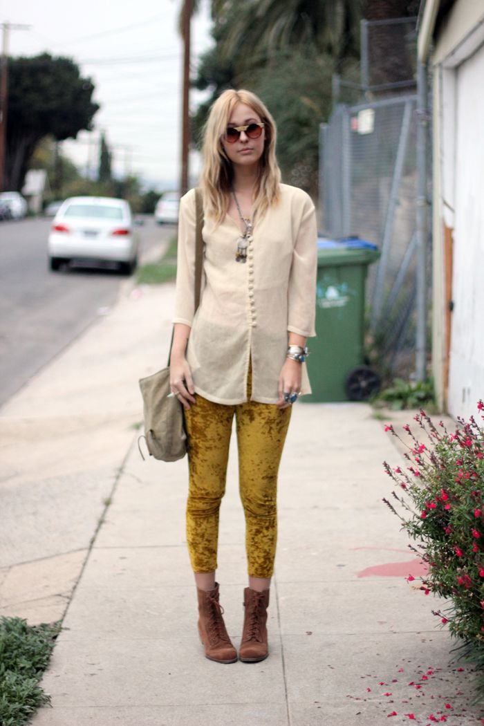 Casual Beige Blouse Yellow Leggings Brown Boots