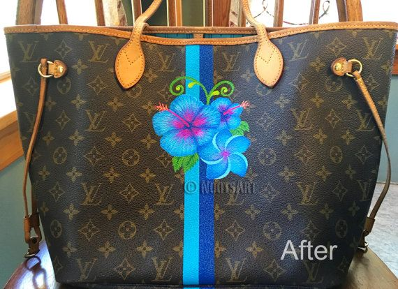 Custom hand painted Louis Vuitton purse...Prices are by NootsArt