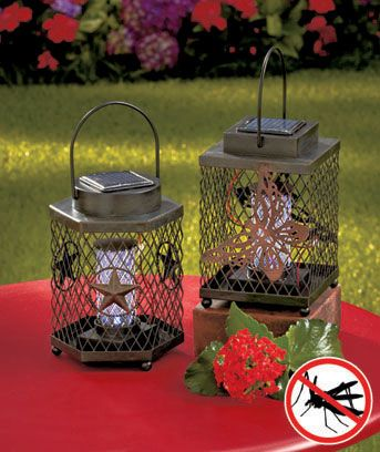 The lantern-look Solar Bug Zapper provides light for evenings outdoors, but it also attracts and kills mosquitoes and other insects. Held within the metal frame