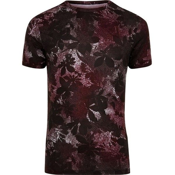 River Island Big and Tall black floral geo print T-shirt ($22) ❤ liked on Polyvore featuring men's fashion, men's clothing, men's shirts, men's t-shirts, mens big and tall shirts, mens crew neck t shirts, mens big and tall t shirts, mens short sleeve shirts and big tall mens shirts