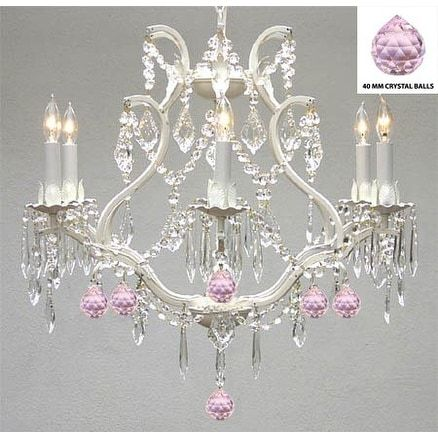 Gallery Authentic Empress Crystal(TM) And Wrought Iron Chandelier Lighting with Pink Crystal Balls, White