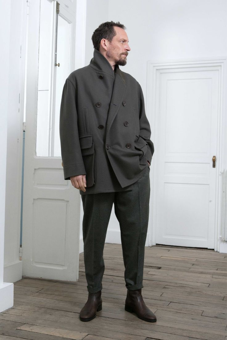 1. Shawl-collar blouson in wool and cashmere melton and cotton sateen / One-pleated pants in wool flannel / Boots in vegetal calf leather