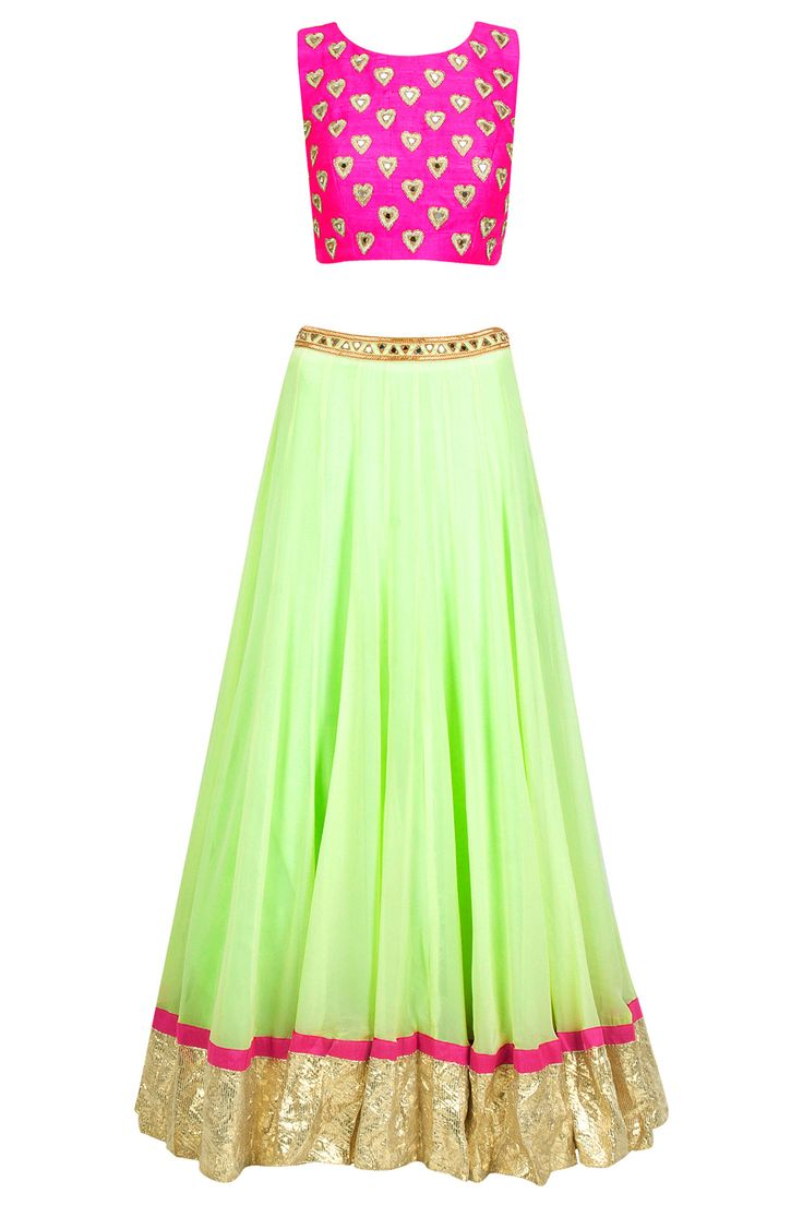 Arpita Mehta Mint Green #Lehenga With Pink Heart Crop #Choli. Available Only At Pernia's Pop-Up Shop.