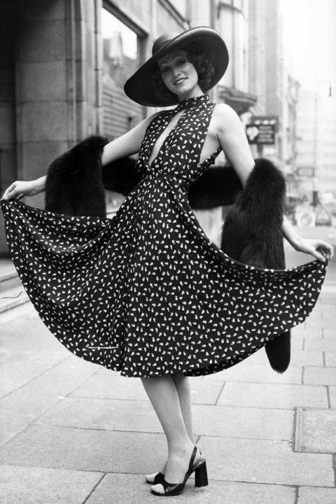 Marion Cameron in a Christian Dior dress and hat